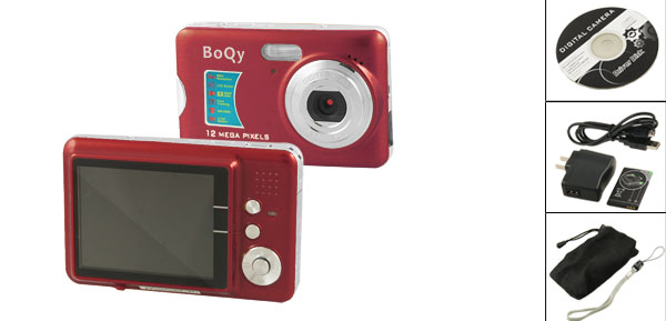 Boqy CD500-FE 12.0 MP 16MB DDR Built in Flash Digital Camera Red
