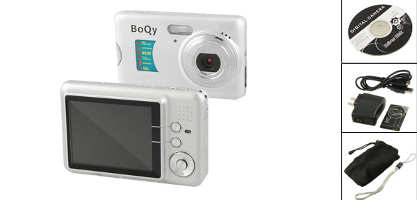 Boqy CD500-FE 12.0MP 8X Digital Zoom Anti Shake Camera Silver Tone