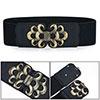 Wave Design Metal Buckle Elastic Party Waist Belt Black for Women