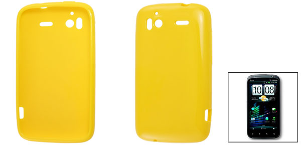 Yellow Soft Plastic Black Cover Case for HTC Sensation 4G G14