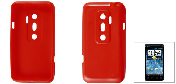 Red Protective Soft Plastic Cover Case Shell for HTC EVO 3D G17