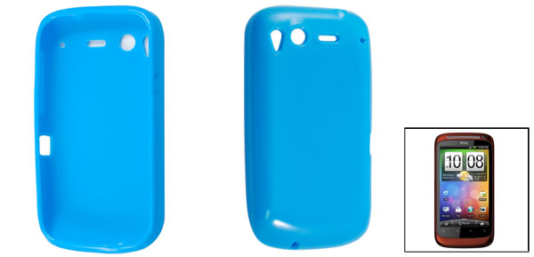 Smooth Soft Plastic Protective Case Blue for HTC Desire S G12