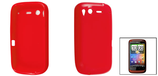 Smooth Soft Plastic Protective Case Red for HTC Desire S G12