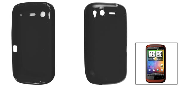Smooth Soft Plastic Protective Case Black for HTC Desire S G12