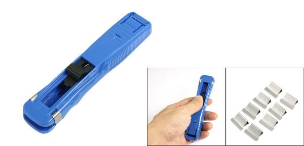 Blue Plastic Paper Fast Clam Clip Stapler Dispenser Kvtei