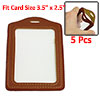 Brown Clear Faux Leather Plastic ID Badge Card Vertical Holders 5...