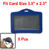 5 Pcs Faux Leather Staff Name ID Badge Card Holder Blue