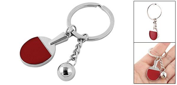 Metal Bead Decor Red Table Tennis Bat Pendant Keyring Keychain Key Ring Holder