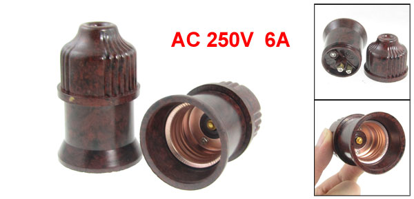 2 Pcs Dark Brown E27 Light Lamp Bulb Holder Socket AC 250V 6A