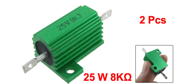 2 Pcs Green Aluminum Housed Wirewound Resistors 25W 8K Ohm 5%