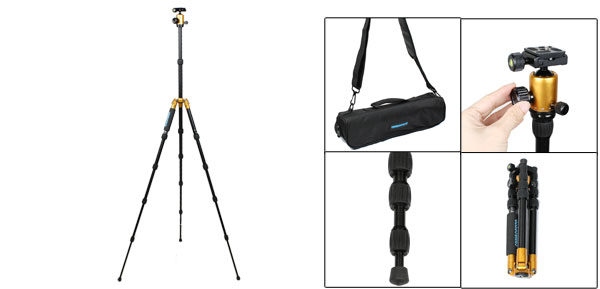 Travel 5 Section Adjustable Aluminum Alloy Tripod Ball Head Gold Tone Black
