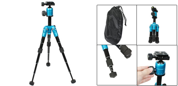 Cyan Blue Black 5 Section DSLR Camera Tripod Ball Head + Hex Key + Storage Bag