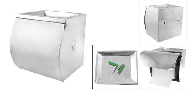 Wave Edge Stainless Steel Toilet Paper Tissue Holder Box Cover Ash Tray