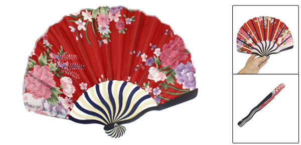 Red Peonies Printing Nylon Cloth Bamboo Handle Folding Hand Fan