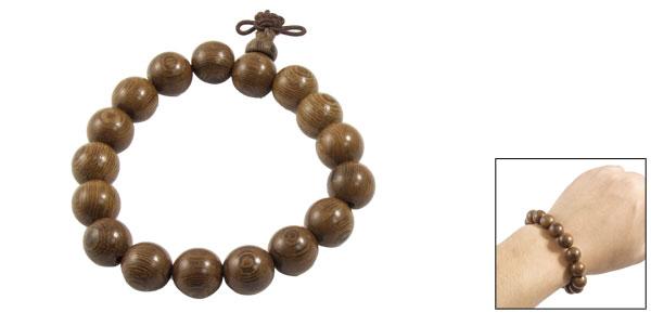 Unisex Wooden Round Beads Growth Ring Detail Elastic Bracelet Brown