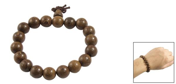 Brown Wood Grain Print Beads Linked Stretch Wrist Bangle Bracelet for Men Women