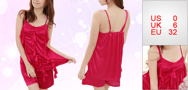 Lady Red Slip Strap Flounced Front Stretchy Summer Sexy Pajamas Set XS