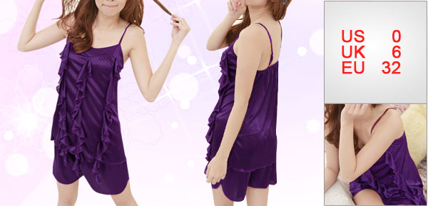 Women Purple Flouncing Front V Neck Semi Sheer Stretchy Cami Set XS