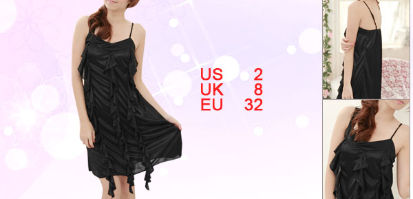 Ladies Black Irregular Shoulder V Neck Flouncing Front Sleepwear XS