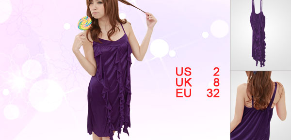 Lady Purple Flounce Front Semi Sheer Spaghetti Strap Babydoll Sleepwear XS