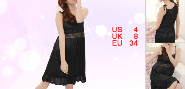 Lady Black Semi SHeer Flouncing Hem Sleeveless Sleepwear Evening Dress S