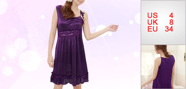 Women Purple Splice Sheer Lace Top Flounced Hem Pullover Babydoll Dress S