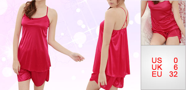 Women Red Stretchable Back U Neck Semi Sheer Slip Strap Pajamas Set XS