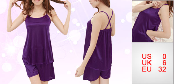 Lady Purple Spaghetti Strap Sleeveless Elastic Back Pajamas Set XS