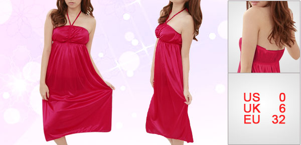 Women Red Halter Neck Sleeveless Semi Sheer Pleated Nightdress Sleepwear XS