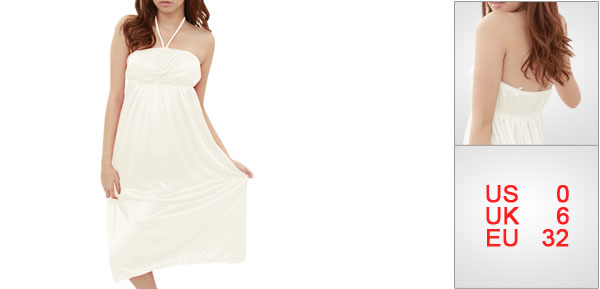 Lady Ivory Square Neckline Stretchy Pleated Ruched Upper Sleepwear XS