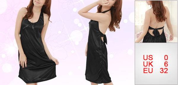 Ladies Black Halter Neck Self Tie Back Semi Sheer Babydoll Sleepwear XS