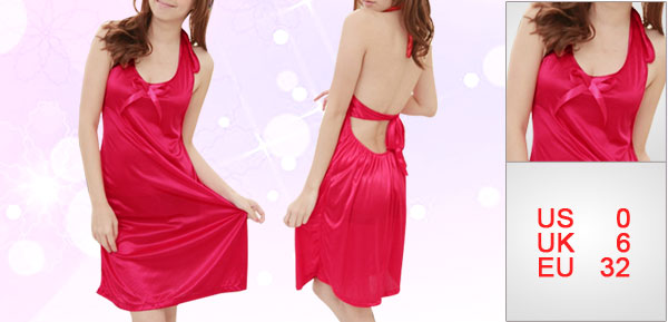 Lady Red Semi Sheer Halter Neck Sleeveless Butterfly Knot Decor Nightdress XS