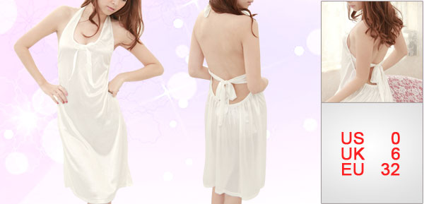 Lady Ivory Elastic Backless Butterfly Knot Decor Front Nightdress XS
