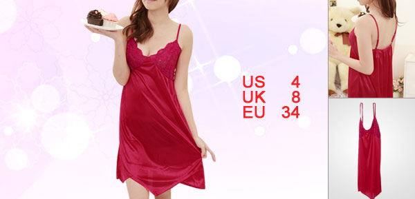 Women Red Irregular Hem Semi Sheer Splice Sexy Sleepwear Evening Dress S