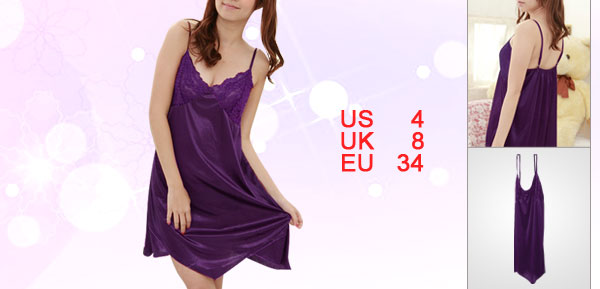 Lady Purple Spaghetti Strap V Neck Elastic Back Semi Sheer Babydoll Dress S