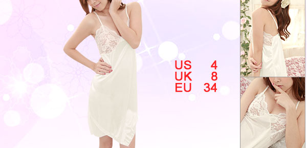 Ladies White Slip Strap Sheer Lace Top Dipped Hem Nightdress Sleepwear S