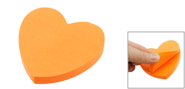 Heart Shape 100 Page Self Sticky Memo Message Pad Orange