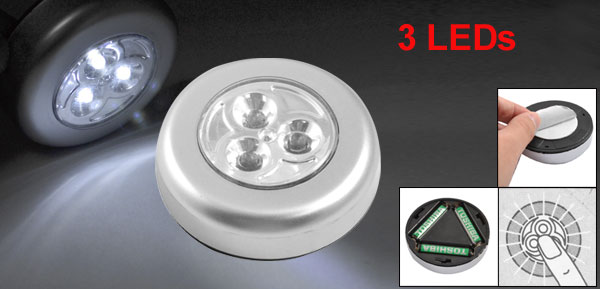 Cordless 3 White LED Push Light Touch Lamp for Cabinet Closet