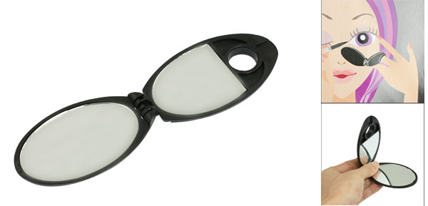 Black Plastic Eye Makeup Cosmetic Symmetrical Mirror