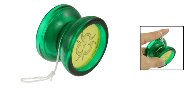 Green Plastic Round Wheel Rotating Yo-Yo Ball Toy for Child