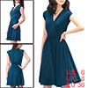 Allegra K Woman Crossover V Neck Pure Color Stretchy Dress Dark B...