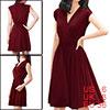 Allegra K Woman Burgundy Crossover Deep V Neck Pure Color Dress S