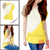 Ladies Short Sleeve Yellow White Chiffon Pullover Tunic Shirt S