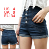 Women Blue Fake Pockets Front Cuffed Detail Button Closure Short ...