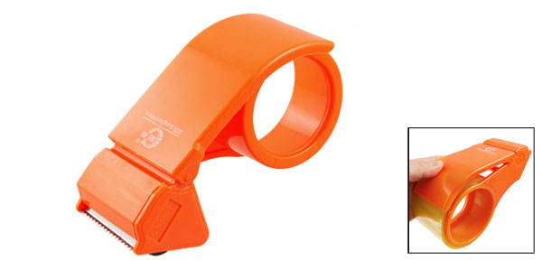 Orange Plastic Body Packaging Adhesive Tape Cutter Roll Dispenser