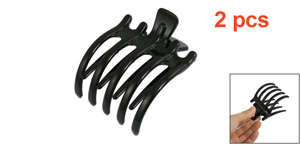 Woman Girls Black Plastic Hairpin Clamp Hair Claw Clips 2 Pcs