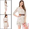 Allegra K Woman Floral Above Knee Chiffon Dress w a Waist Belt Gr...