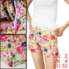 Ladies Multicolor Floral Prints Zip Fly Stretchy Short Shorts XS