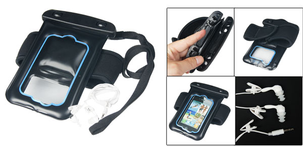 Black Blue Water Resistant 4 Headphone Pouch w Earphone for iphone 4 4G 4S