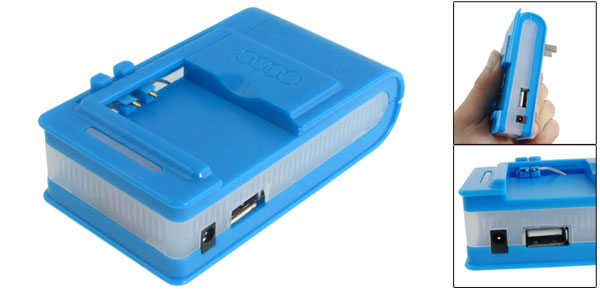 Portable USB Port Universal Cell Phone Battery Charger Blue AC 220V